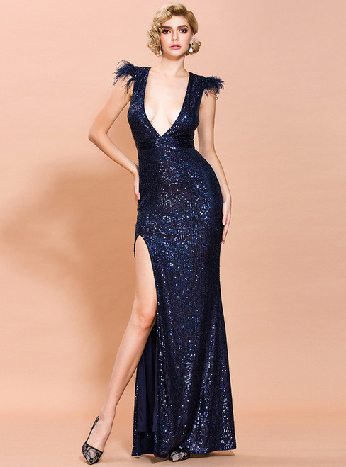 In Stock:Ship in 48 Hours Navy Blue Sequins Deep V-neck Party Dress