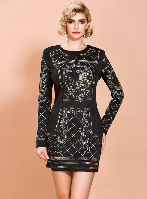 In Stock:Ship in 48 Hours Black Sheath Beading Party Dress