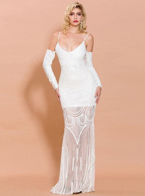 In Stock:Ship in 48 Hours Sexy White Mermaid Long Sleeve Party Dress