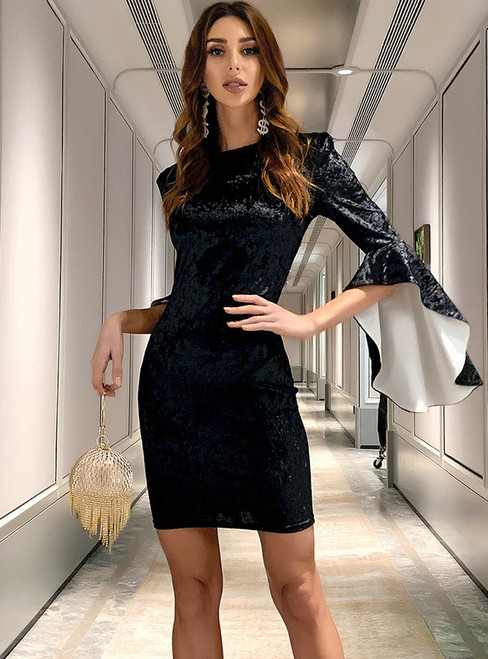 In Stock:Ship in 48 Hours Black Velvet Bell Sleeve Party Dress
