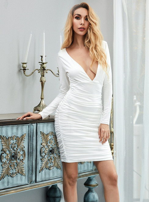 In Stock:Ship in 48 Hours White Deep V-neck Party Dress