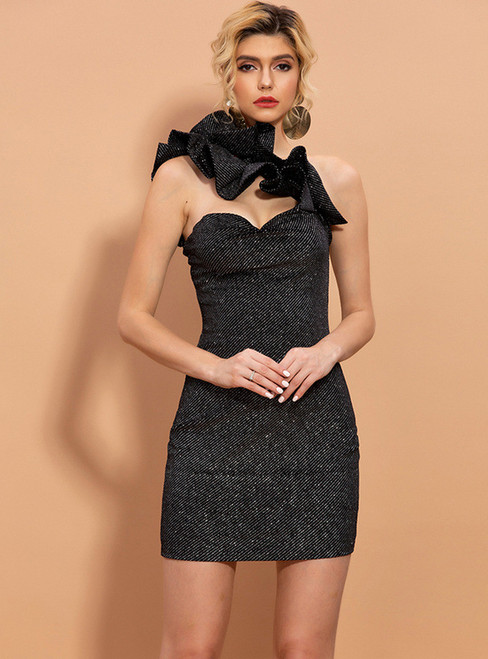 In Stock:Ship in 48 Hours Black Sheath Ruffles Party Dress