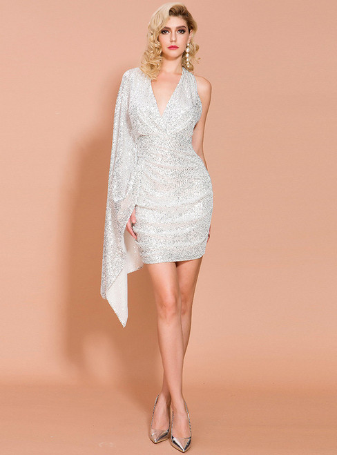 In Stock:Ship in 48 Hours Silver Sequins V-neck Party Dress