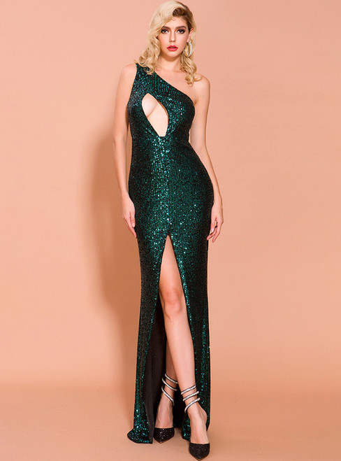 In Stock:Ship in 48 Hours Green Sequins Cut Out Party Dress