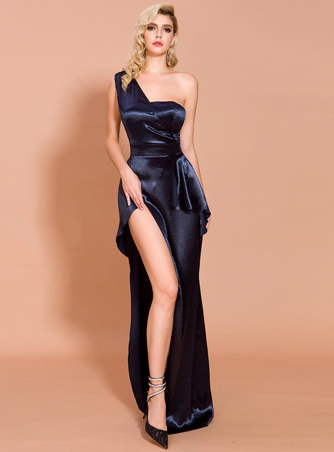 In Stock:Ship in 48 Hours Navy Blue Satin One Shoulder Party Dress