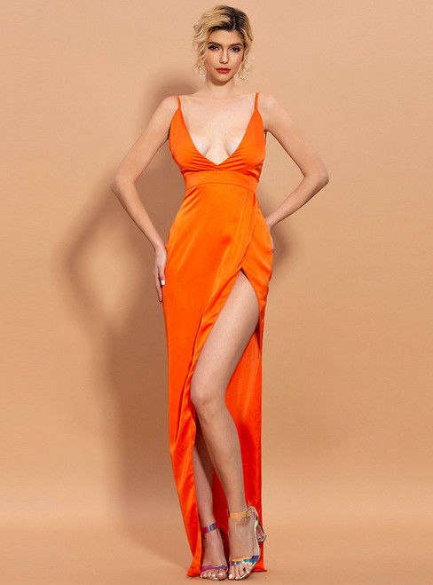 In Stock:Ship in 48 Hours Orange Satin V-neck Party Dress