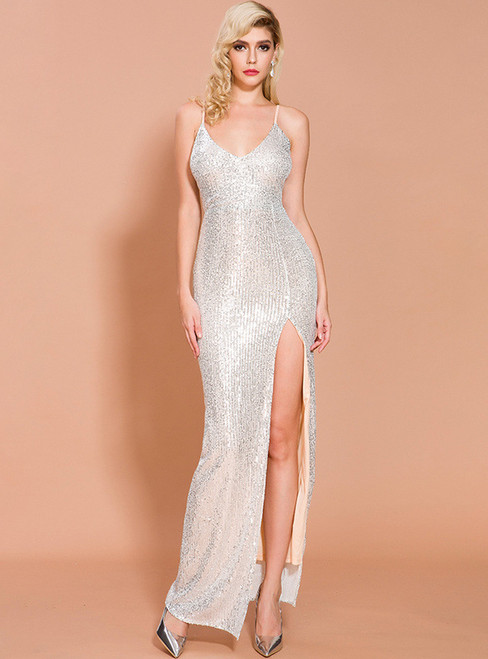 In Stock:Ship in 48 Hours Silver Mermaid Sequins Party Dress With Split
