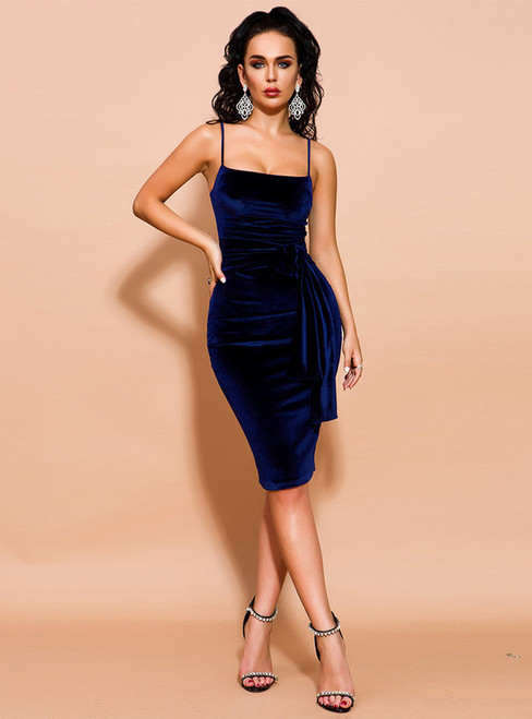 In Stock:Ship in 48 Hours Navy Blue Velvet Spagehtti Straps Party Dress