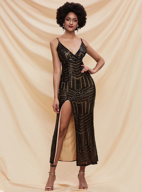 In Stock:Ship in 48 Hours Black Sequins V-neck Party Dress With Split