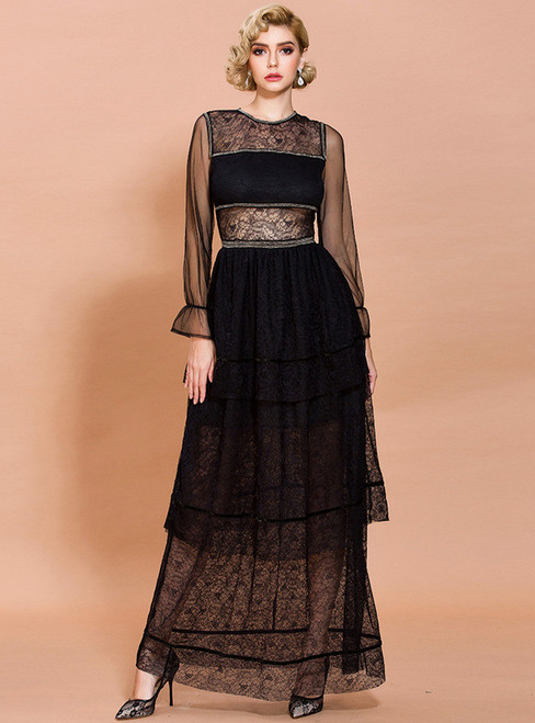 In Stock:Ship in 48 Hours Black Hollow Out Party Dress