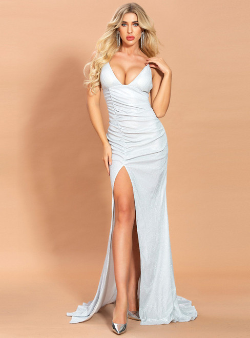 In Stock:Ship in 48 Hours White Mermaid V-neck Party Dress