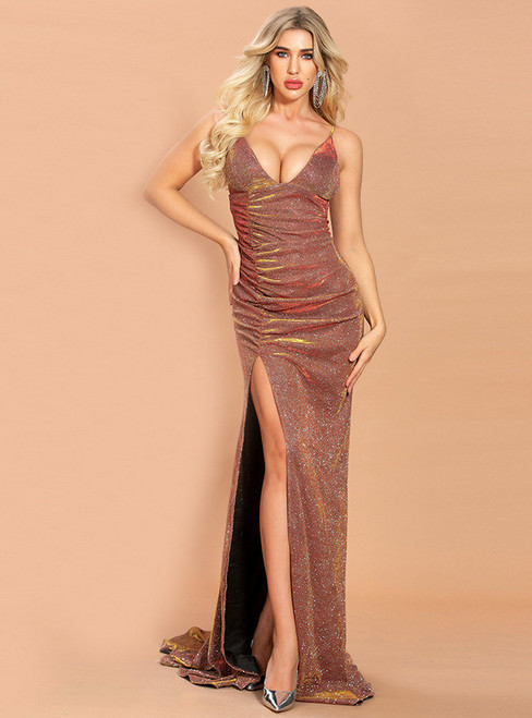 In Stock:Ship in 48 Hours Coffee Mermaid V-neck Party Dress