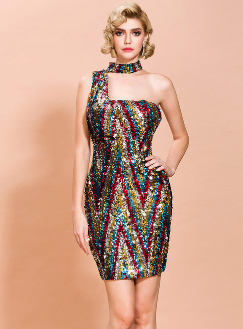 In Stock:Ship in 48 Hours Colorful Sequins One Shoulder Party Dress