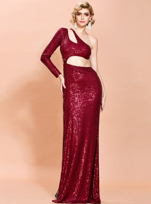 In Stock:Ship in 48 Hours Burgundy Sequins Cut Out Party Dress