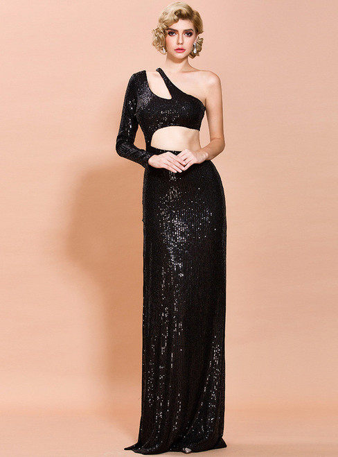 In Stock:Ship in 48 Hours Black Sequins Cut Out Party Dress