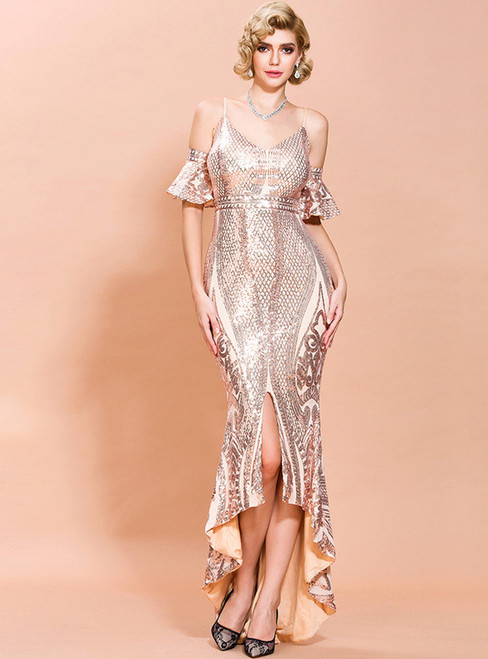 In Stock:Ship in 48 Hours Rose Gold Mermaid Sequins Party Dress