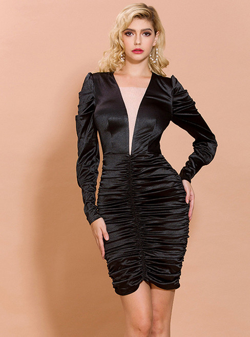 In Stock:Ship in 48 Hours Black Long Sleeve Pleats Party Dress
