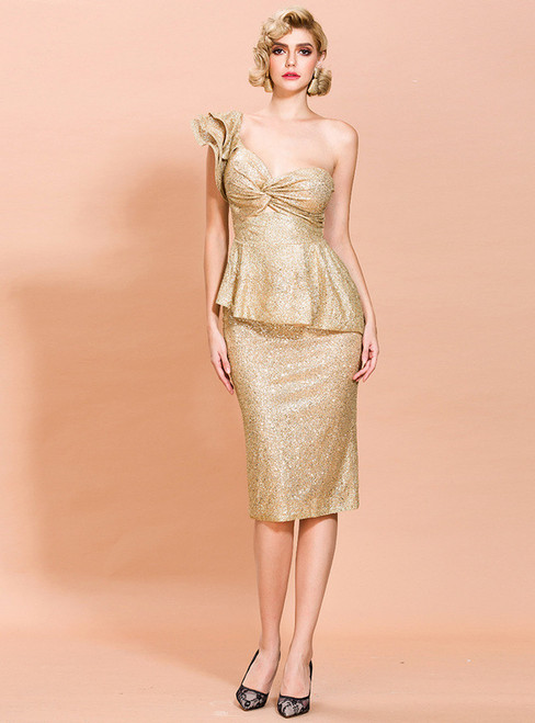 In Stock:Ship in 48 Hours Gold Sequins One Shoulder Short Party Dress