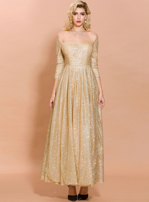 In Stock:Ship in 48 Hours Gold Sequins Off the Shoulder Party Dress
