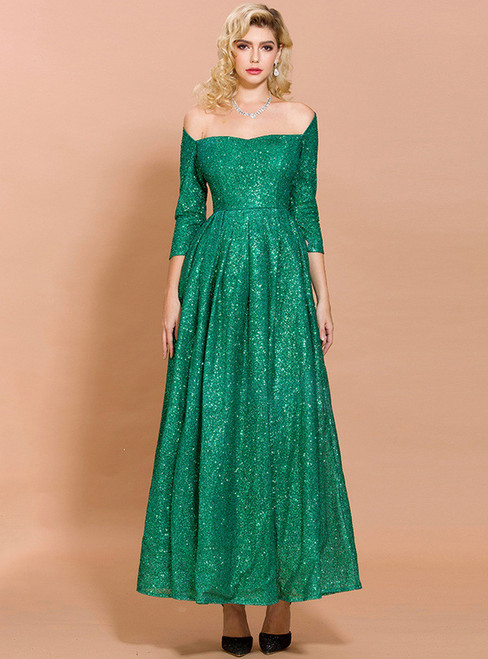 In Stock:Ship in 48 Hours Green Sequins Off the Shoulder Party Dress