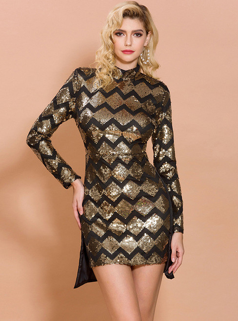In Stock:Ship in 48 Hours Geometric Sequins Mini/Short Party Dress