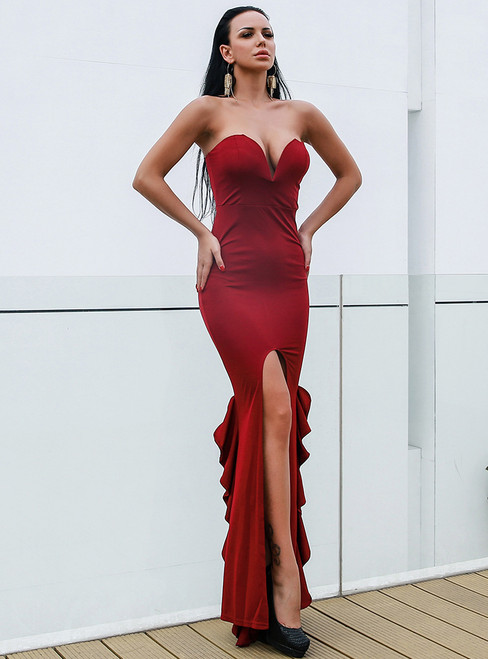 In Stock:Ship in 48 Hours Burgundy Sweetheart Party Dress