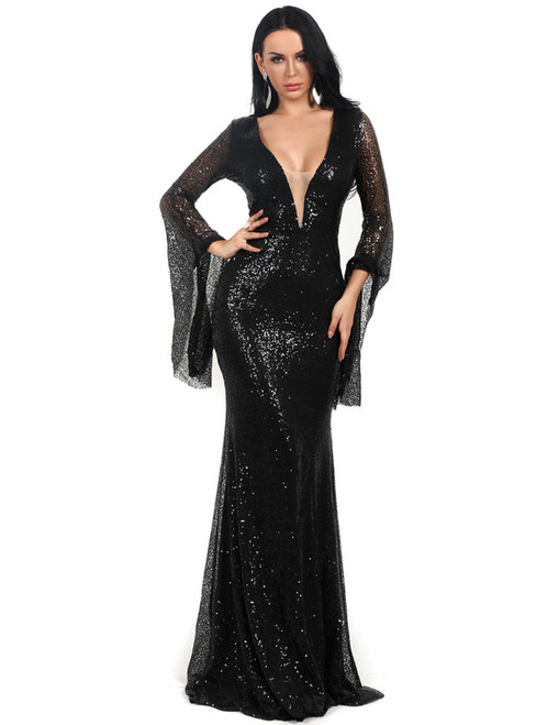 In Stock:Ship in 48 Hours Black Sequins V-neck Bat Sleeve Party Dress