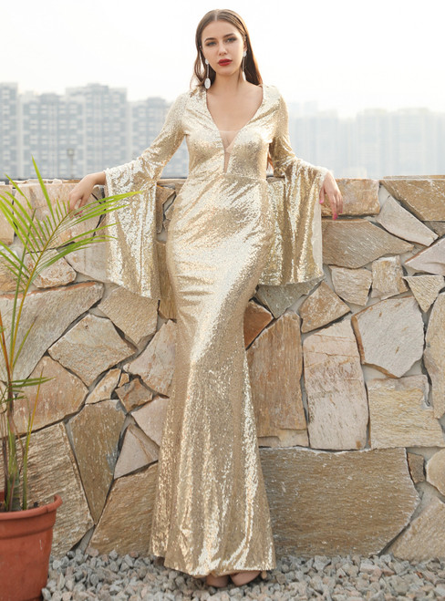 In Stock:Ship in 48 Hours Gold Sequins V-neck Bat Sleeve Party Dress
