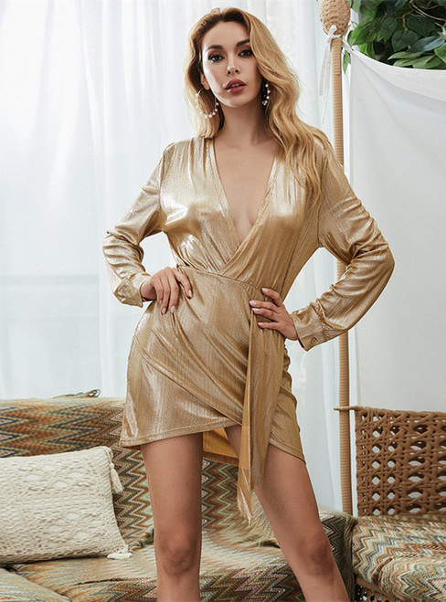 In Stock:Ship in 48 Hours Gold V-neck Long Sleeve Short Dress