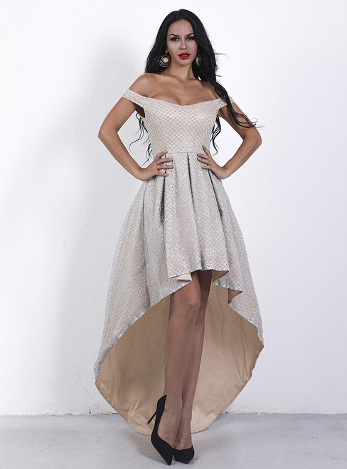 In Stock:Ship in 48 Hours Champagne Sequins Hi Lo Party Dress