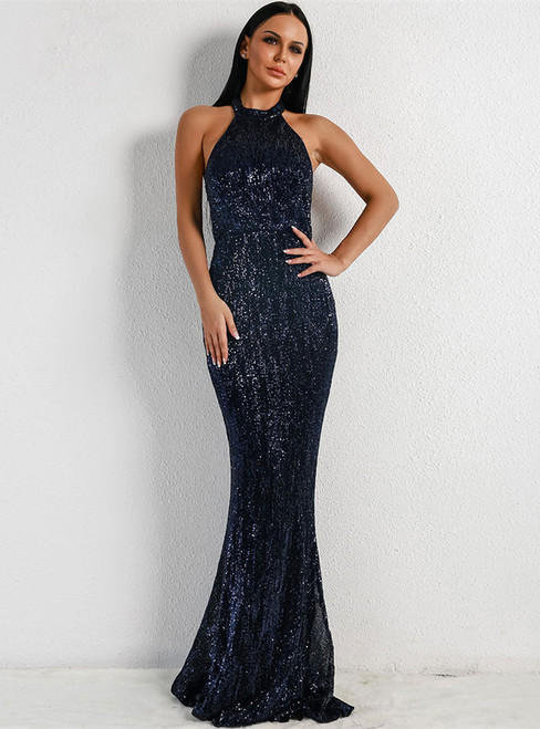 In Stock:Ship in 48 Hours Navy Blue Mermaid Sequins Halter Party Dress