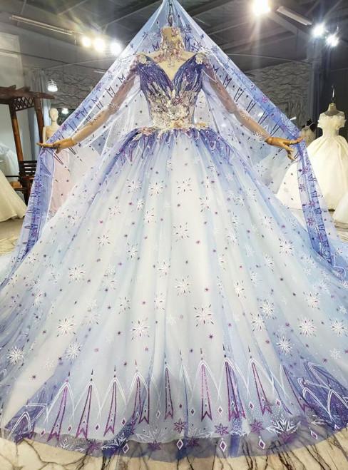 Blue Ball Gown Tulle V-neck Long Sleeve Wedding Dress