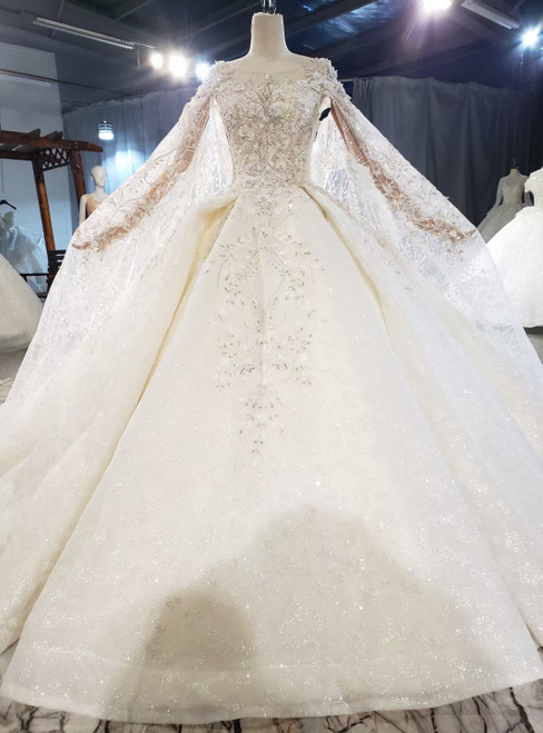 Champagne Ball Gown Tulle Appliques Beading Wedding Dress With Train