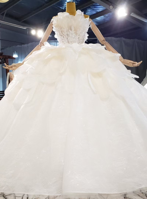Light Champagne Tulle Sequins Strapless Appliques Beading Wedding Dress