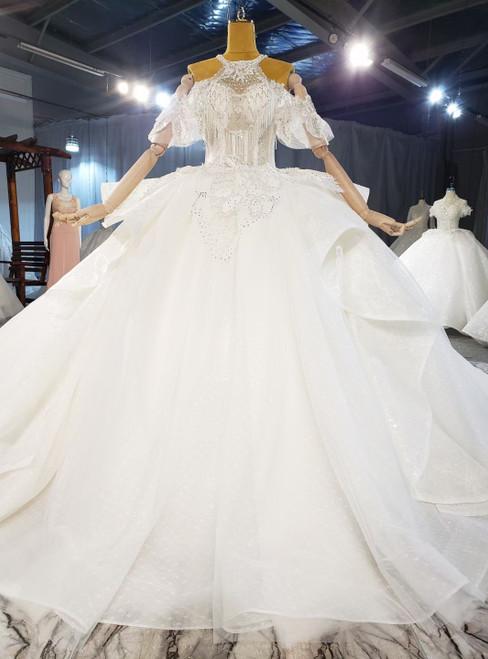 White Tulle Halter Beading Wedding Dress With Train