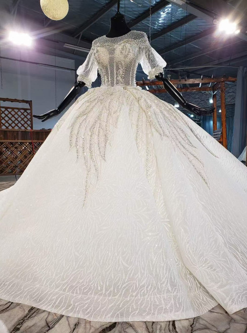 Ivory White Ball Gown Tulle Sequins Short Sleeve Pearls Wedding Dress