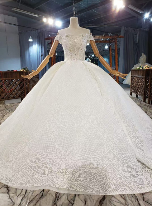 White Ball Gown Tulle Sequins Lace Off the Shoulder Wedding Dress
