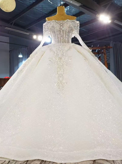 White Ball Gown Tulle Sequins Off the Shoulder Long Sleeve Wedding Dress
