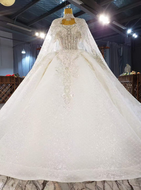 White Ball Gown Sequins Strapless Beading Wedding Dress With Shawl