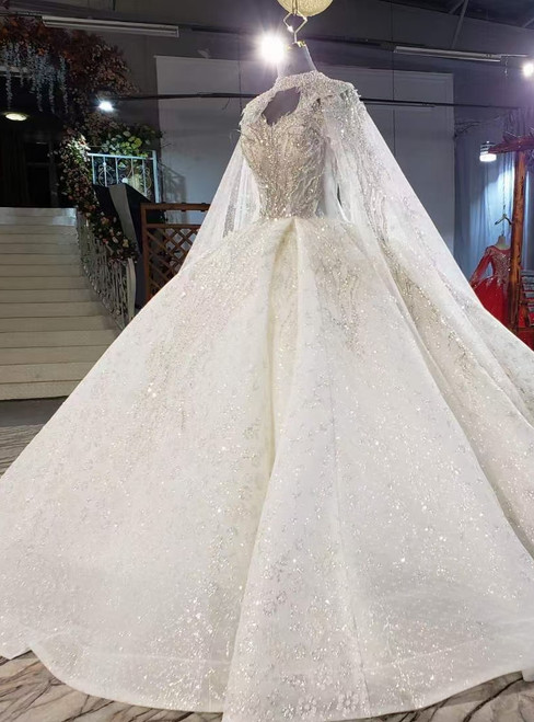 Ivory Tulle Seuqins Strapless Beading Wedding Dress With Shawl