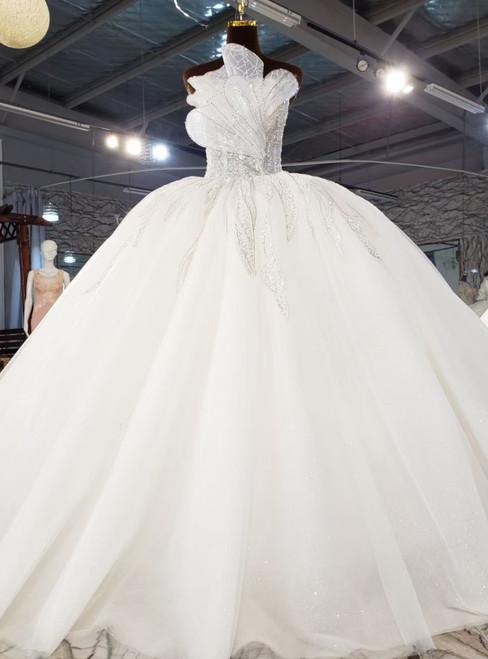 White Tulle Strapless Sequins Beading Wedding Dress