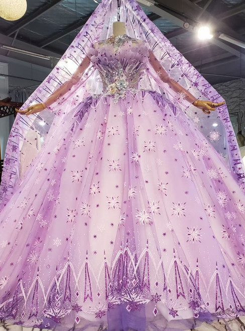 Pulple Tulle Long Sleeve Appliques Ball Gown Prom Dress