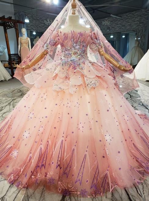 Pink Tulle Short Sleeve Appliques Flower Girl Dress