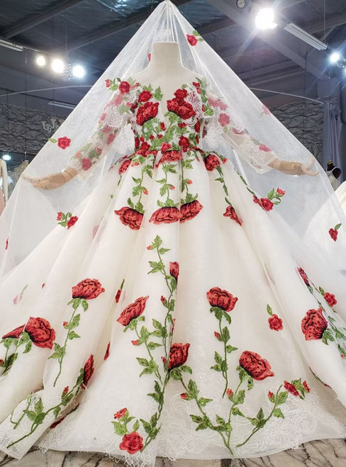 White Tulle Rose Flower Long Sleeve Flower Girl Dress