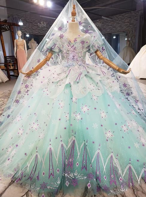 Ball Gown Tulle Short Sleeve Appliques Flower Girl Dress