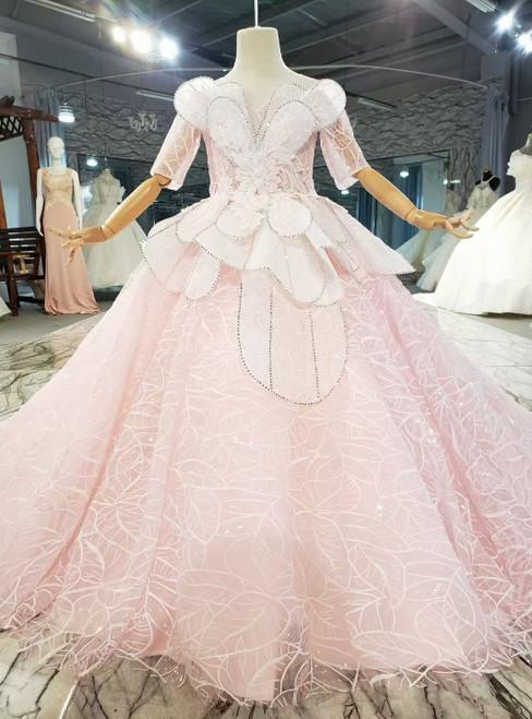 Pink Tulle Sequins Short Sleeve Beading Flower Girl Dress