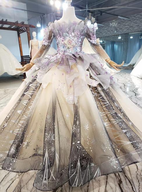Champagne Gray Tulle Appliques Beading Flower Girl Dress