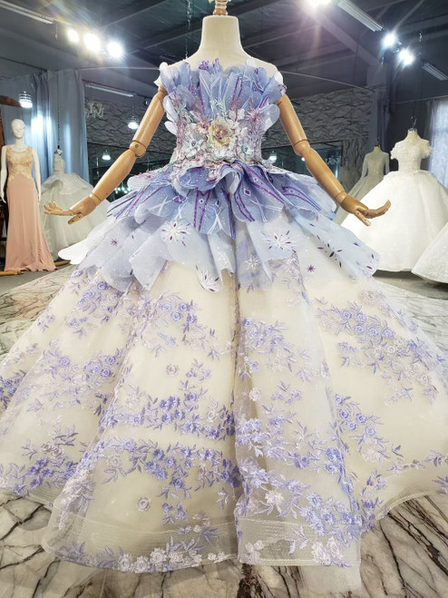 Champagne Purple Tulle Embrodiery Appliques Flower Girl Dress