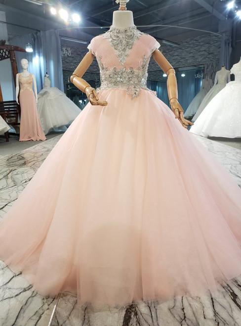 Pink Tulle High Neck Open Back Pleats Crystal Flower Girl Dress