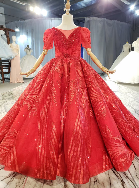 Red Sequins Embroidery Beading Short Sleeve Flower Girl Dress